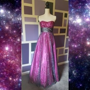 Dressed by Deb Sequined Strapless Prom Dress